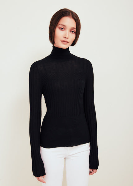 Tori Black Fine Merino Wool Sweater
