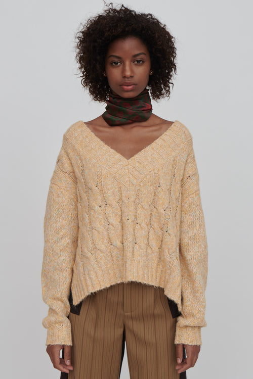 Georgia Cotton Blend Sweater Yellow