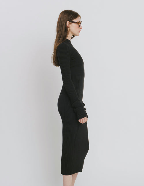 Olivia Black Cotton Blend Dress