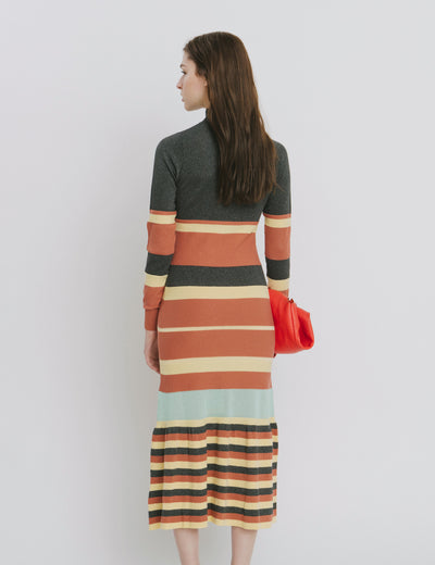 Black Stripe Cotton Dress - Maralina