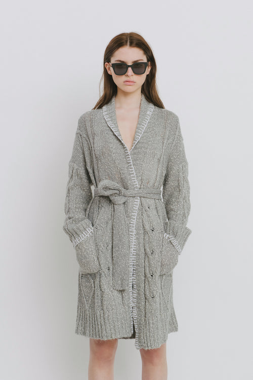 Agnes Grey Cotton Blend Cardigan