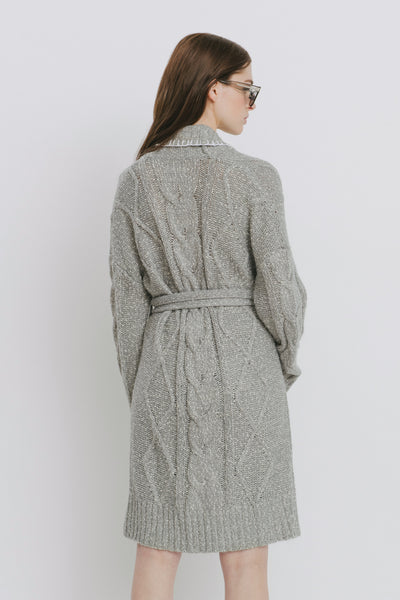Grey Cotton Blend Cardigan - Agnes