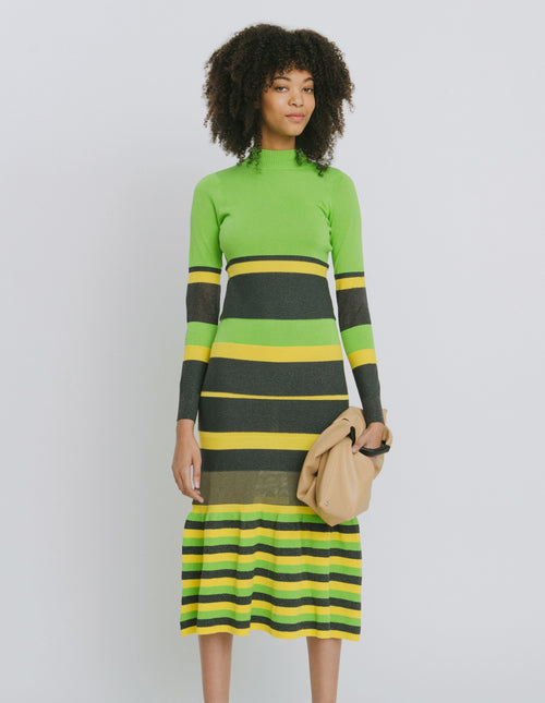 Maralina Green Stripe Cotton Blend Dress