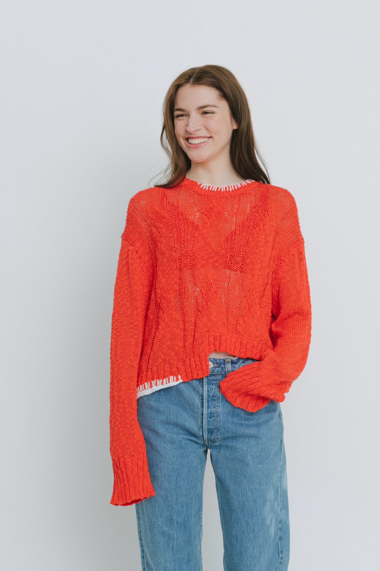 Red Cotton Blend Crew Neck Sweater - Claudia