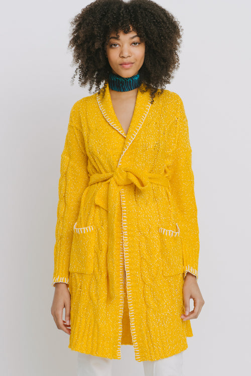 Agnes Cotton Blend Cardigan Yellow