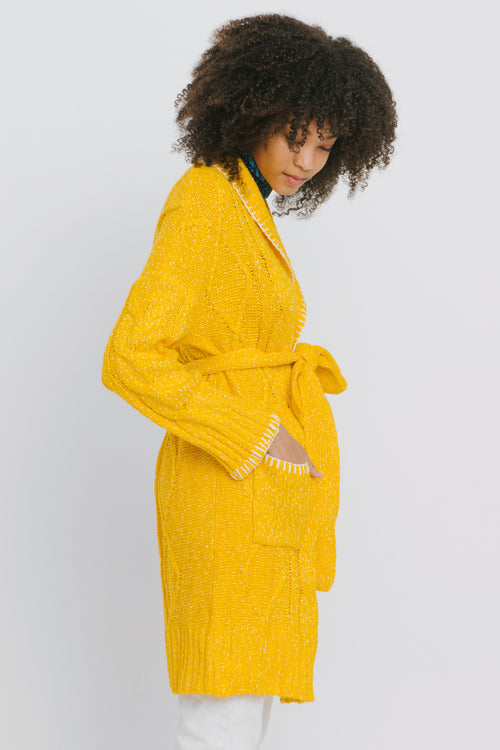 Yellow Cotton Blend Cardigan - Agnes