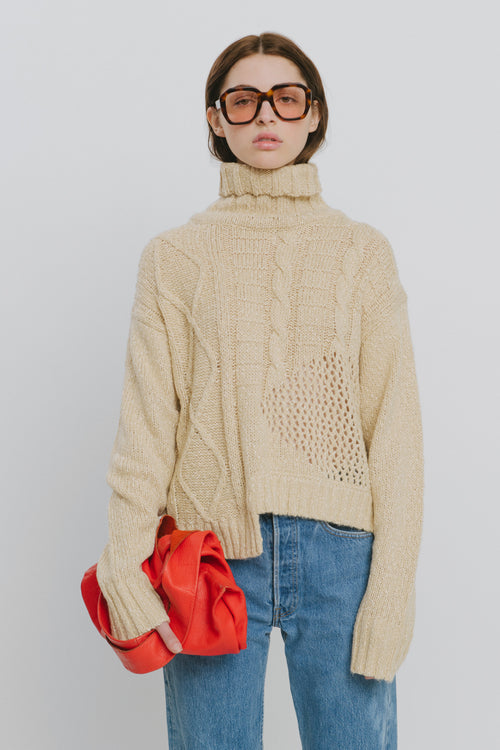 Aaliyah Cotton Blend Turtleneck Sweater Beige