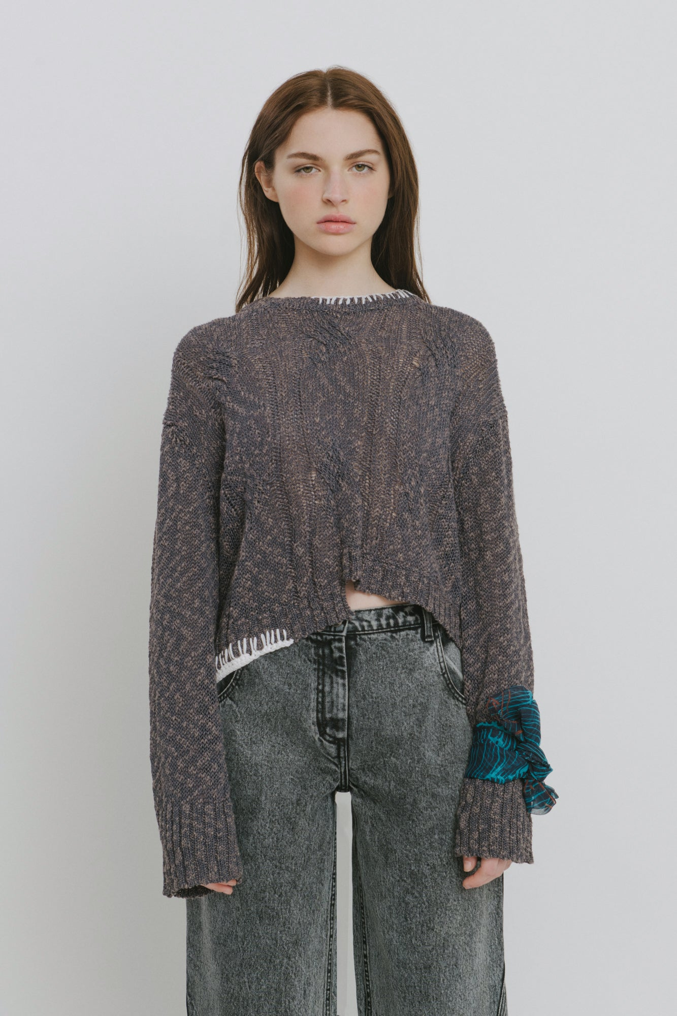 Grey Cotton Blend Crew Neck Sweater - Claudia