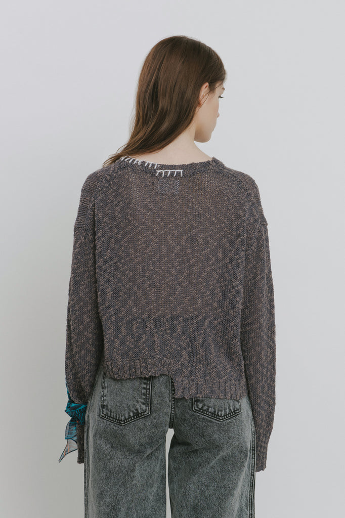 Claudia Grey Cotton Blend Crew Neck Sweater