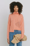 Aaliyah Orange Cotton Blend Turtleneck Sweater