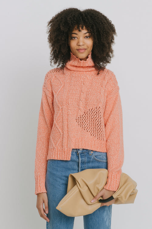 Aaliyah Cotton Blend Turtleneck Sweater Orange
