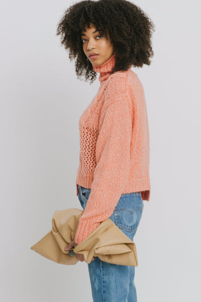 Orange Cotton Blend Turtleneck Sweater - Aaliyah