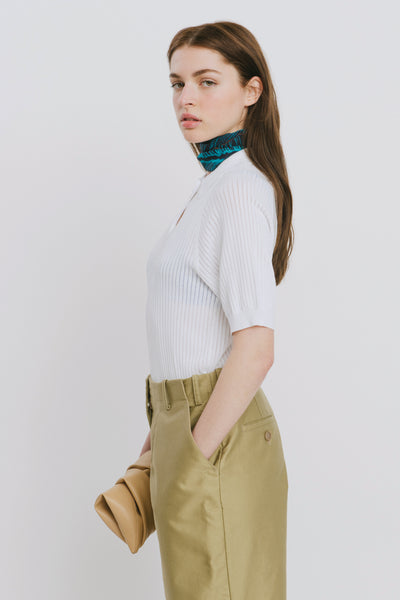 White Viscose Blend Polo Neck Sweater - Danika
