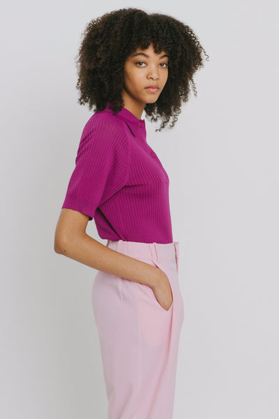 Purple Viscose Blend Polo Neck Sweater - Danika