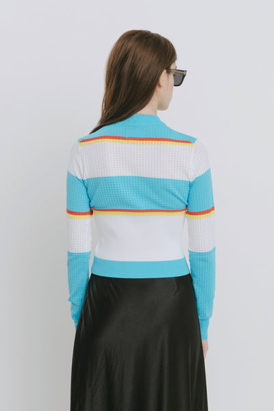 Blue Viscose Blend Crew Neck Sweater - Alexis