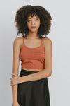 Brown Cotton Tank Tops - Sabrina