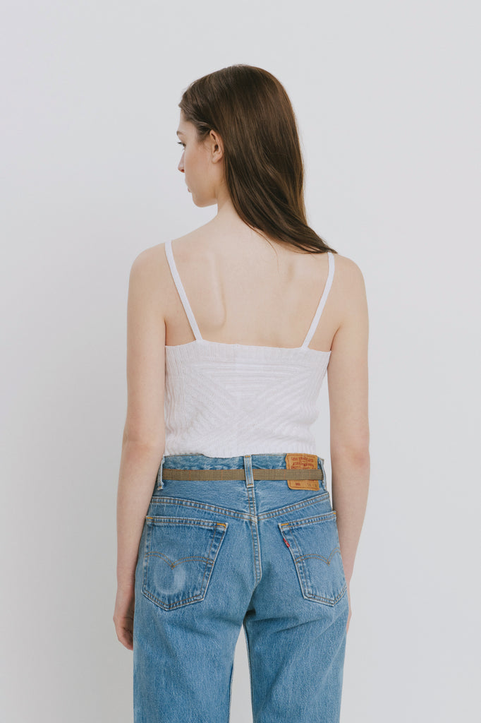 Lena White Linen Tank Top