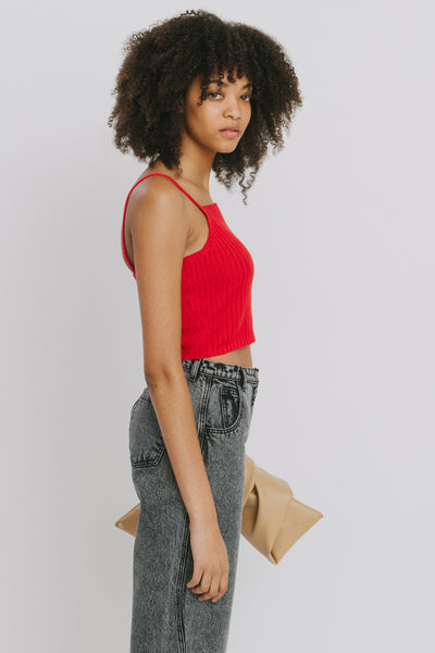 Red Linen Tank Top - Lena
