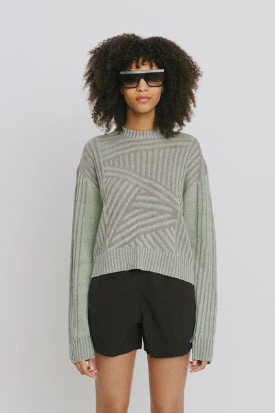 Green Linen Crew Neck Sweater - Nora