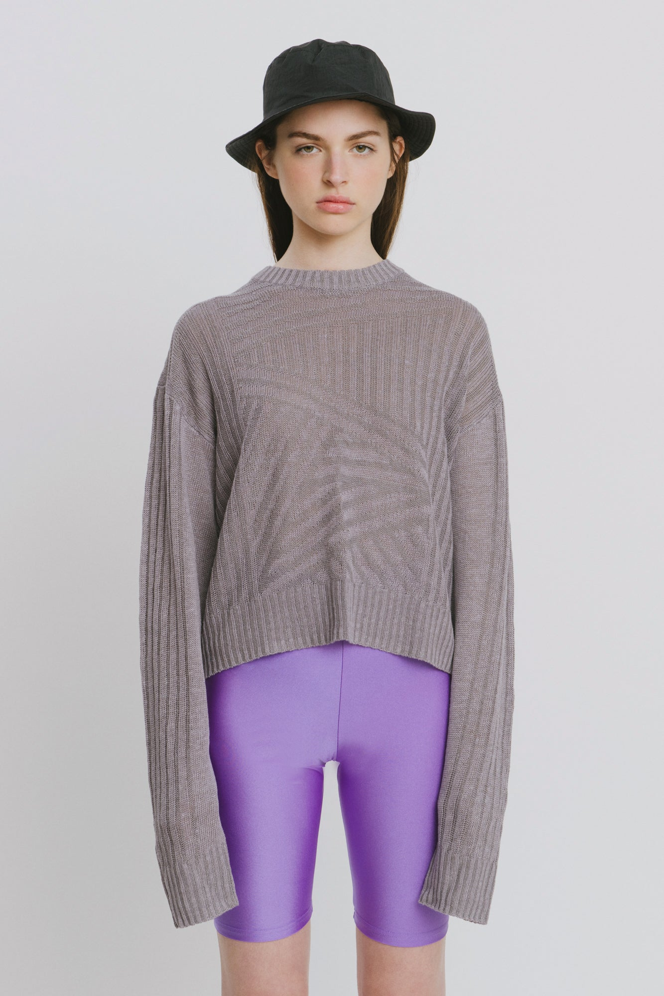 Purple Linen Crew Neck Sweater - Nora