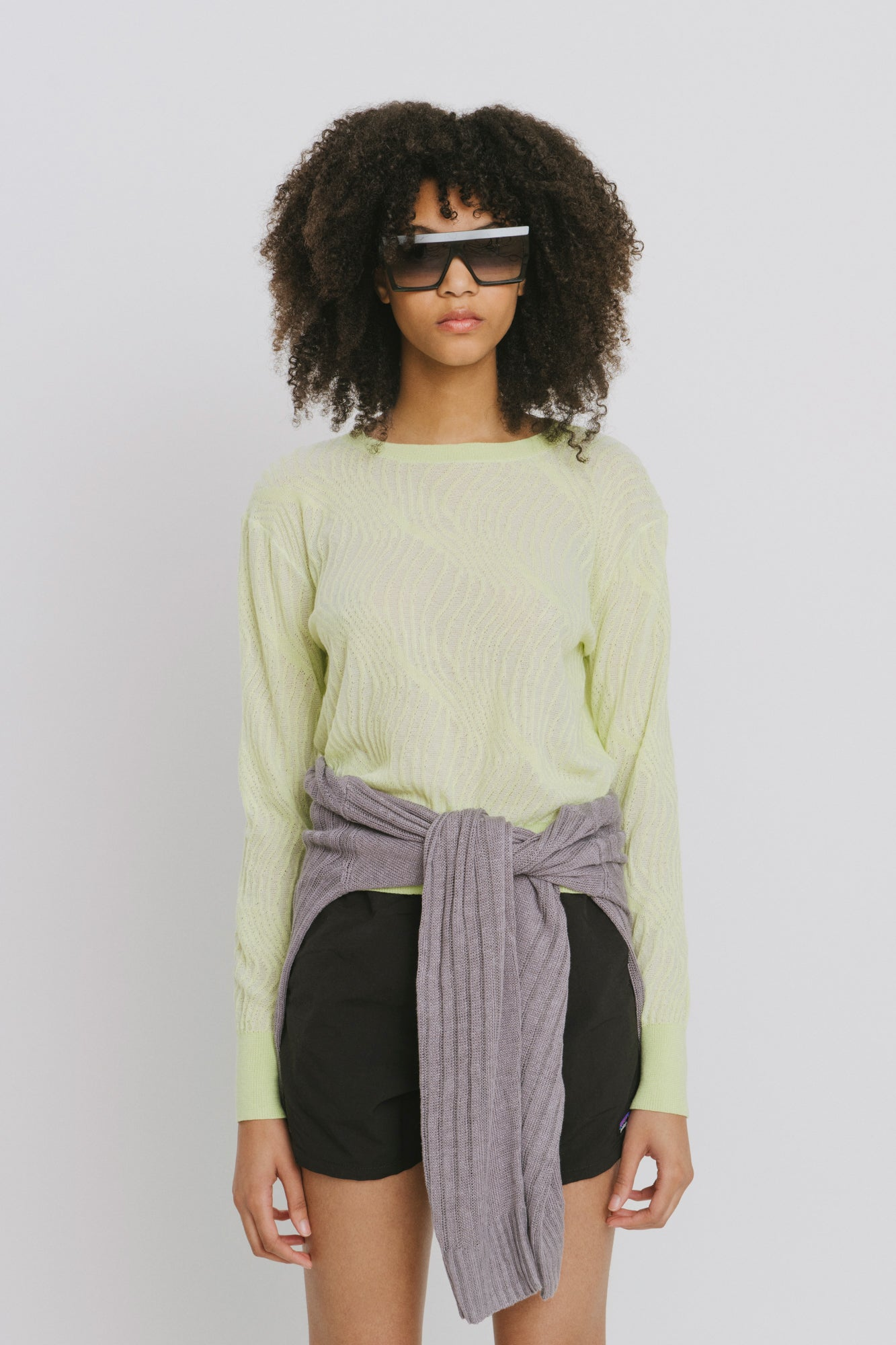Loc Green Polyester Crew Neck Sweater