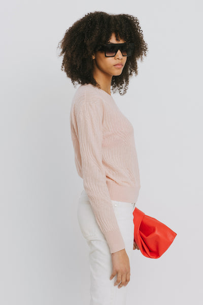Loc Pink Polyester Crew Neck Sweater