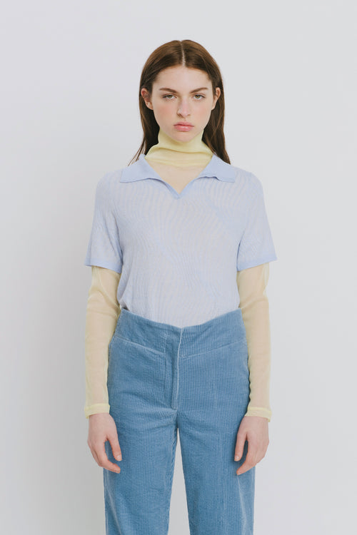 Marina Blue Polo Collar Sweater