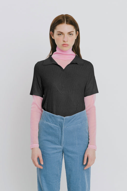 Marina Black Polo Collar Sweater