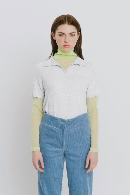Marina White Polo Collar Sweater