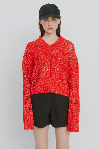 Red Cotton Blend V Neck Sweater - Nicole