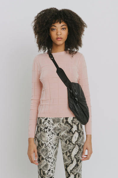 Pink Cotton Crew Neck Sweater - Ven