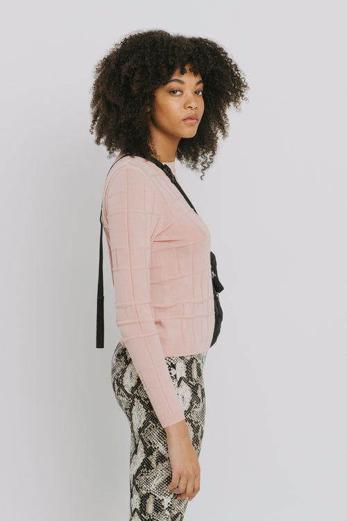 Ven Pink Cotton Crew Neck Sweater