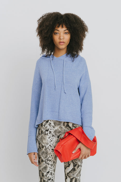 Benson Cotton Hooded Sweater Blue