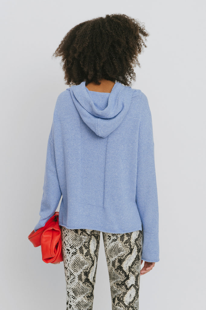 Benson Blue Cotton Hooded Sweater