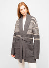 Grey Wool Blend Fair Isle Cardigan - Judy