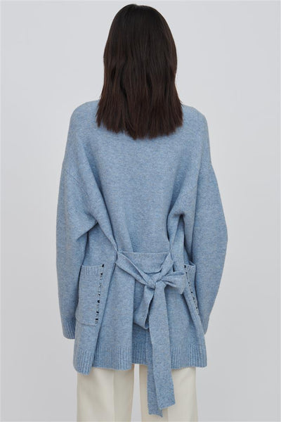 Blue Wool Blend Cardigan - Kara