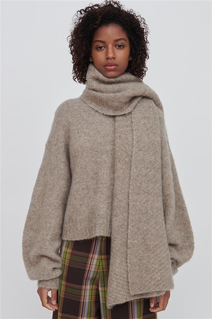 Brown Cashmere Blend Wrap - Riley