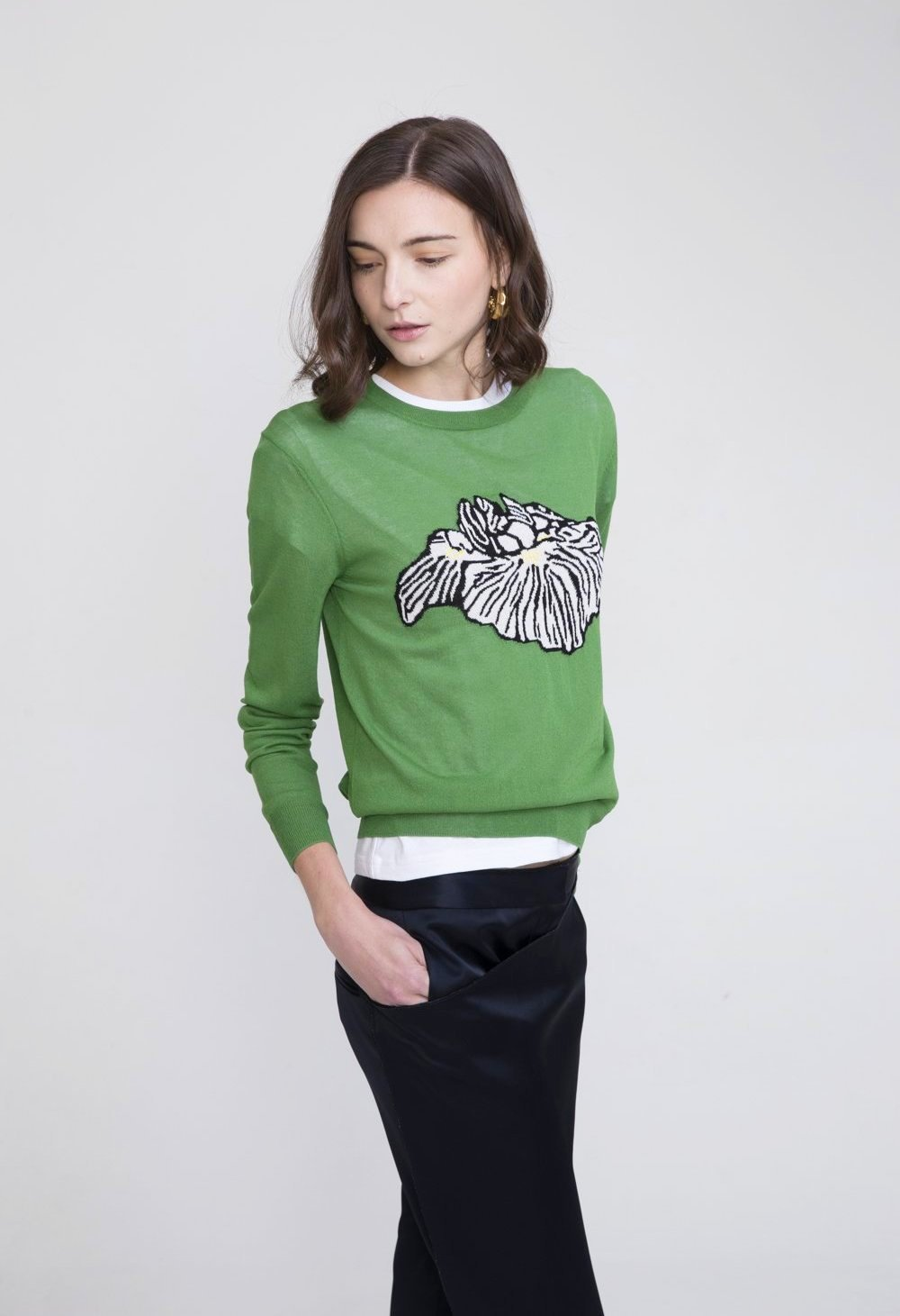Keiko Green Viscose Crew Neck Sweater