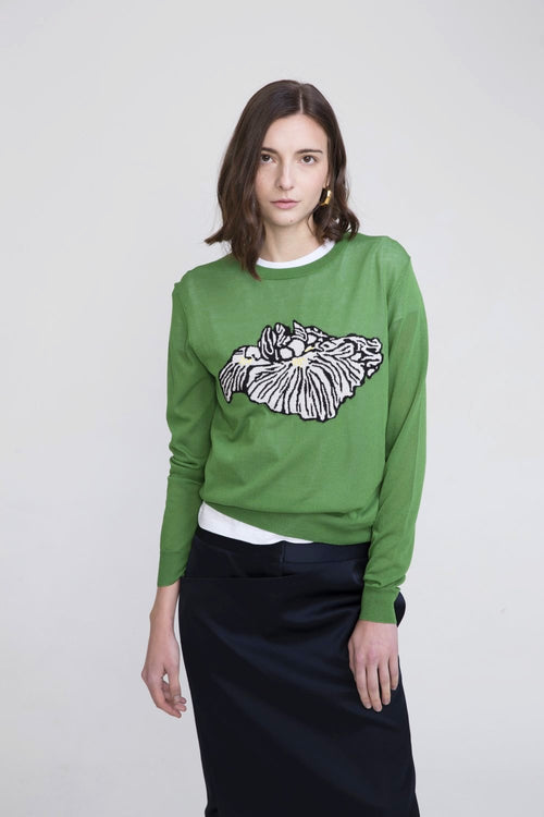 Keiko Viscose Crew Neck Sweater Green