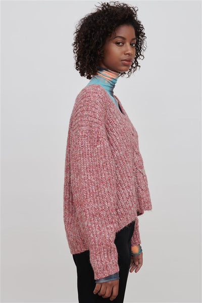 Pink/Red Cotton Blend Sweater - Liliana