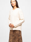 White Wool Blend V Neck Cable Knit Sweater - Lila