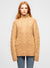 Brown Wool Blend Mock Neck Cable Knit Sweater - Luna