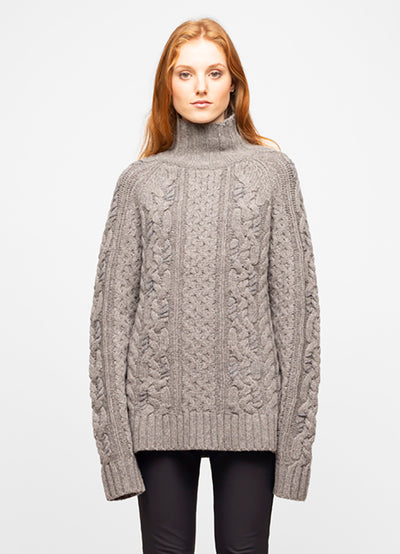 Grey Wool Blend Mock Neck Cable Knit Sweater - Luna