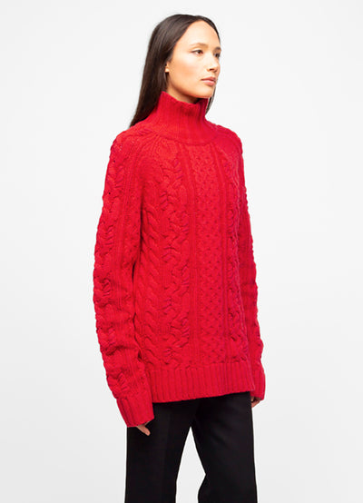 Red Wool Blend Mock Neck Cable Knit Sweater - Luna
