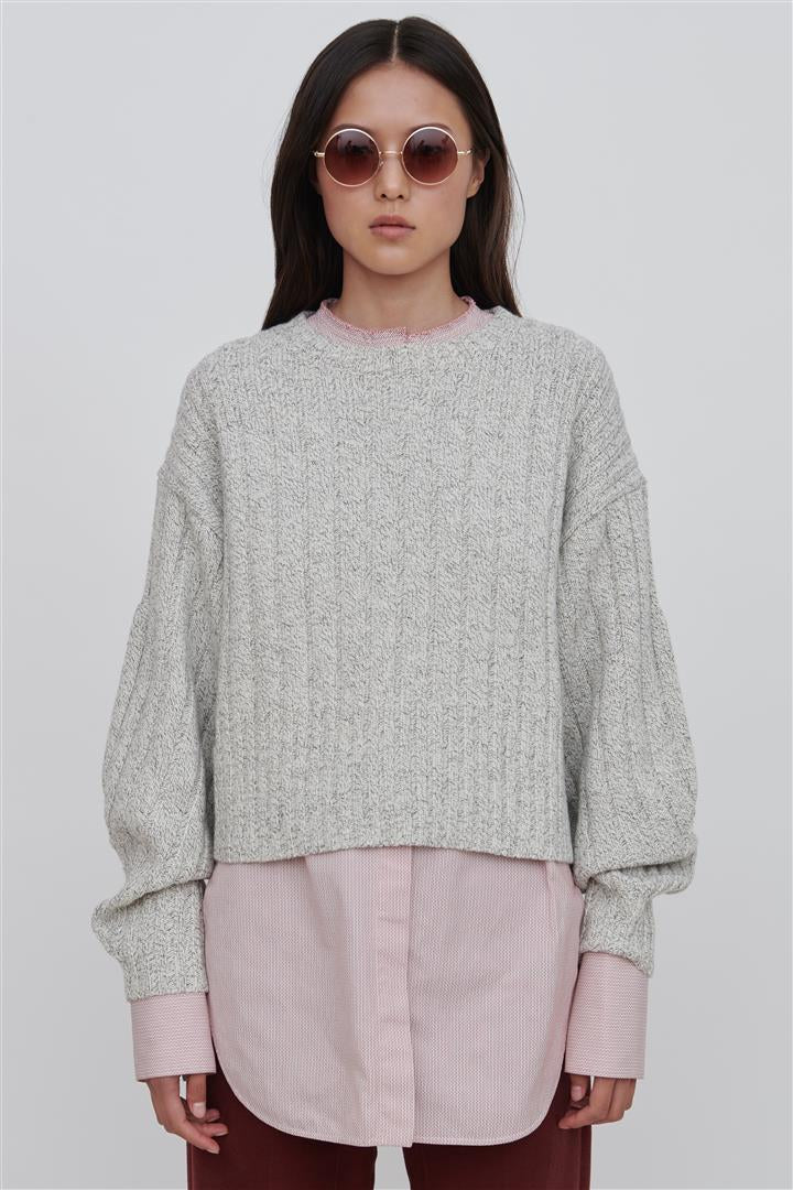 White Wool Crew Neck Sweater - Mira