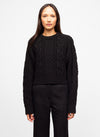 Black Wool Blend Crew Neck Cable Knit Sweater - Mayssa