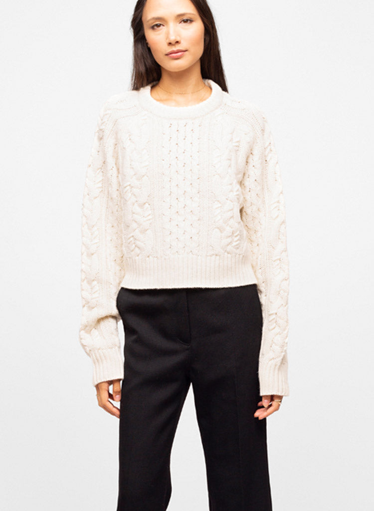 White Wool Blend Crew Neck Cable Knit Sweater - Mayssa
