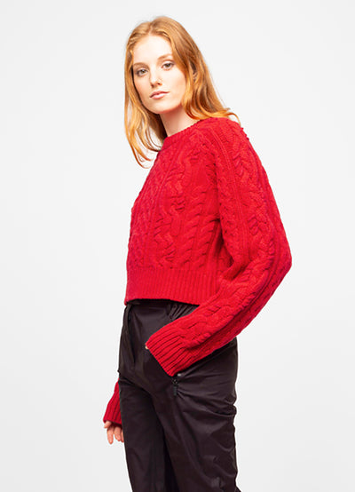 Red Wool Blend Crew Neck Cable Knit Sweater - Mayssa