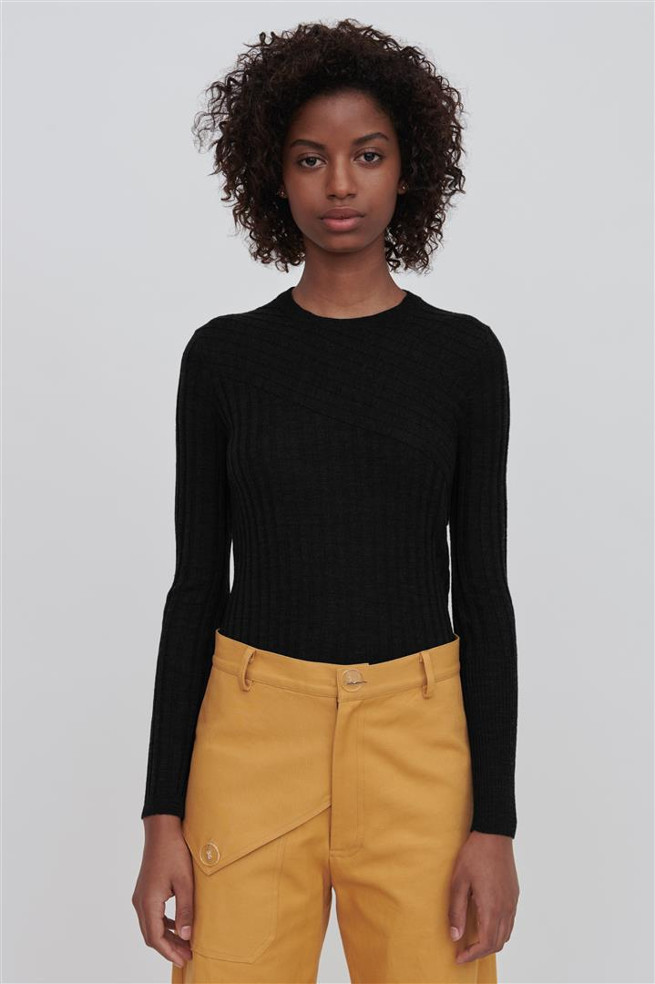 Black Fine Merino Wool Crew Neck Sweater - Nev