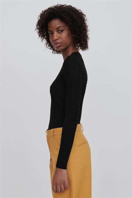 Nev Black Fine Merino Wool Sweater